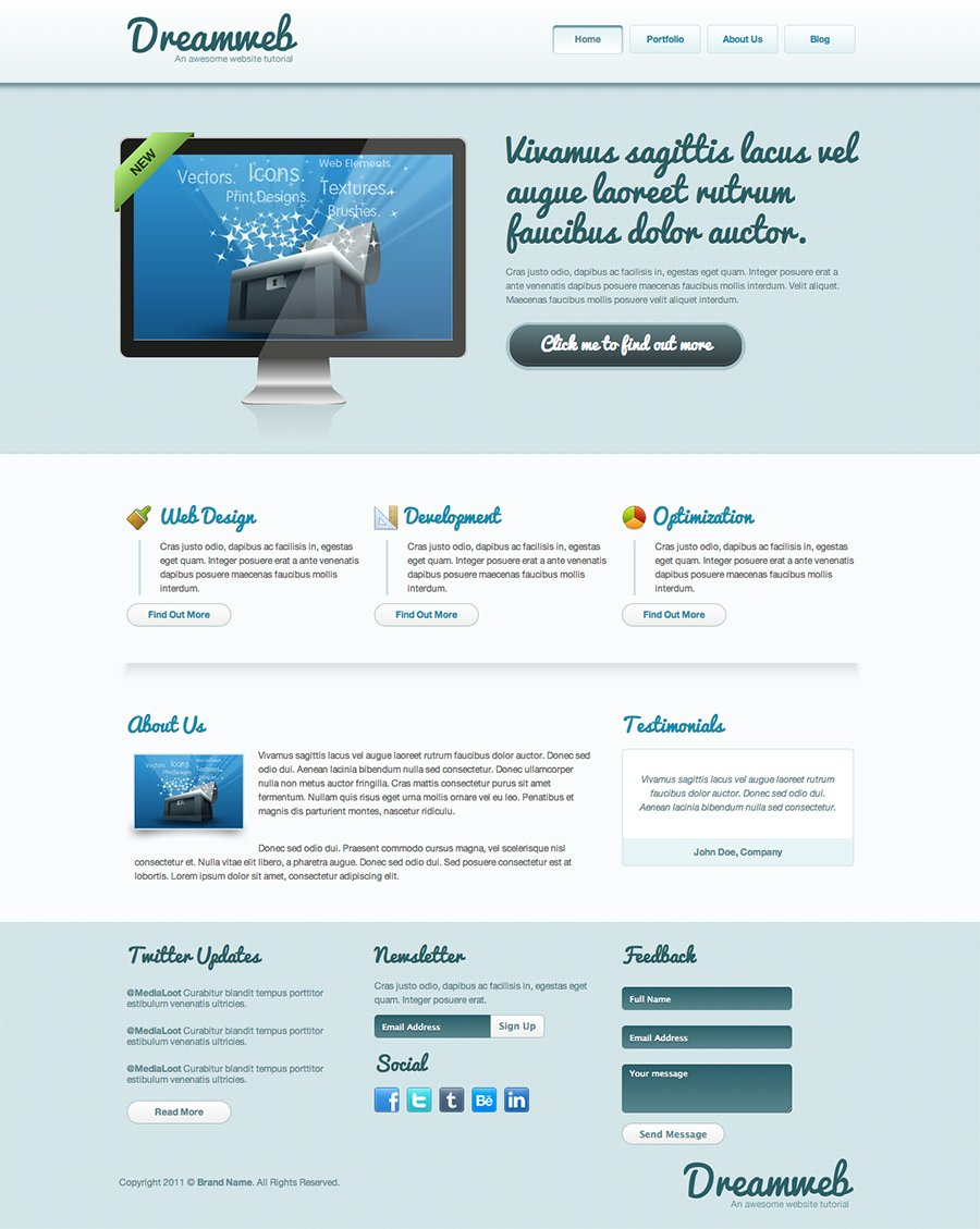 Dreamweb Homepage Template Cleanly Designed