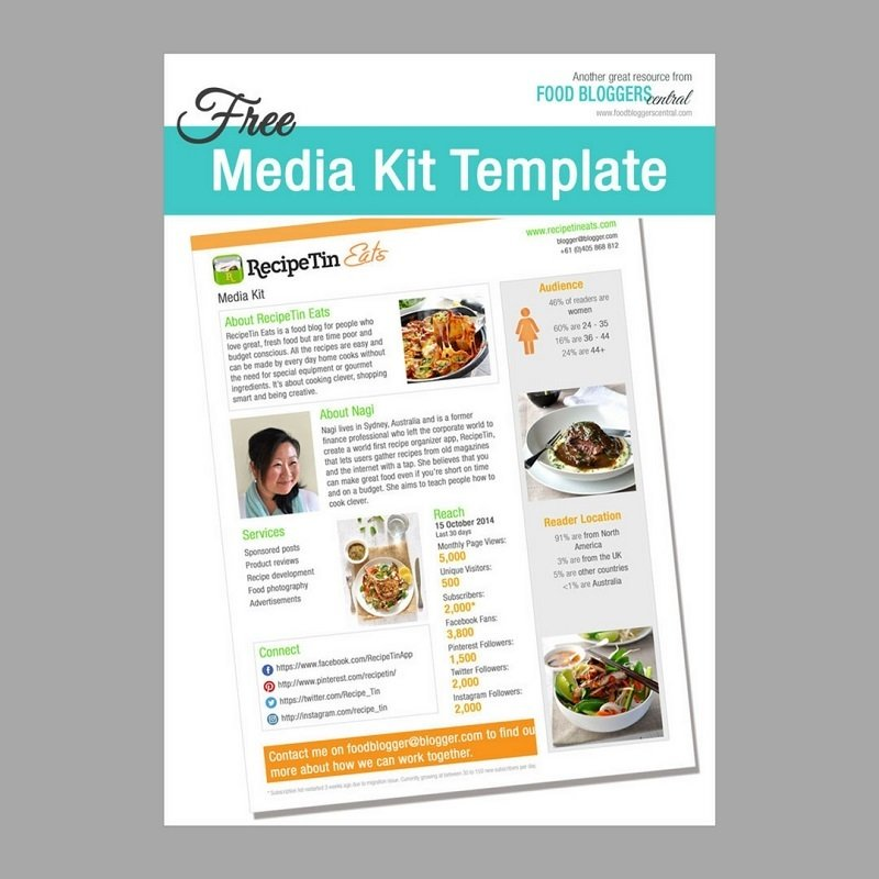 free media kit for food bloggers