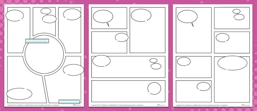 5 Great Comic Strip Layouts For Kids With Already Placed Sch Bubbles And E To Write The Le Author Freedom Draw Tails Of