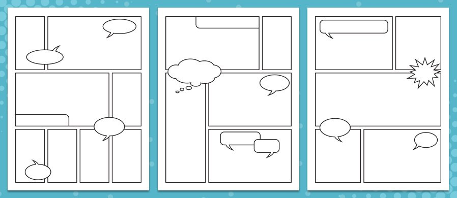 Comic worksheet template rcnschool for Printable blank comic strip template for kids