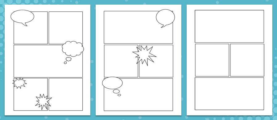 2 Diffe Comic Strips Layouts Packs A4 Size With On Each One And A Free Bonus Third Pack Sheets Of Sch Baloons