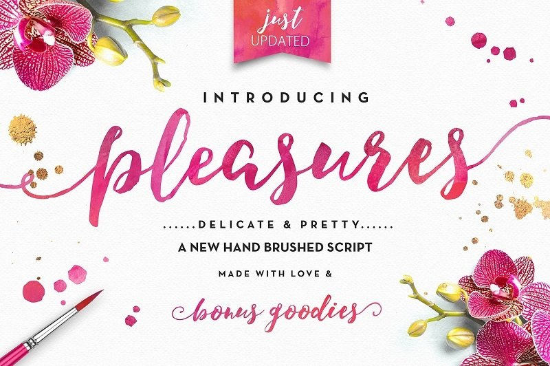 As Its Name Suggest Pleasures Is A Playful Elegant Brush Script That Includes End Swashes For Little Extra Drama The Package Also Several