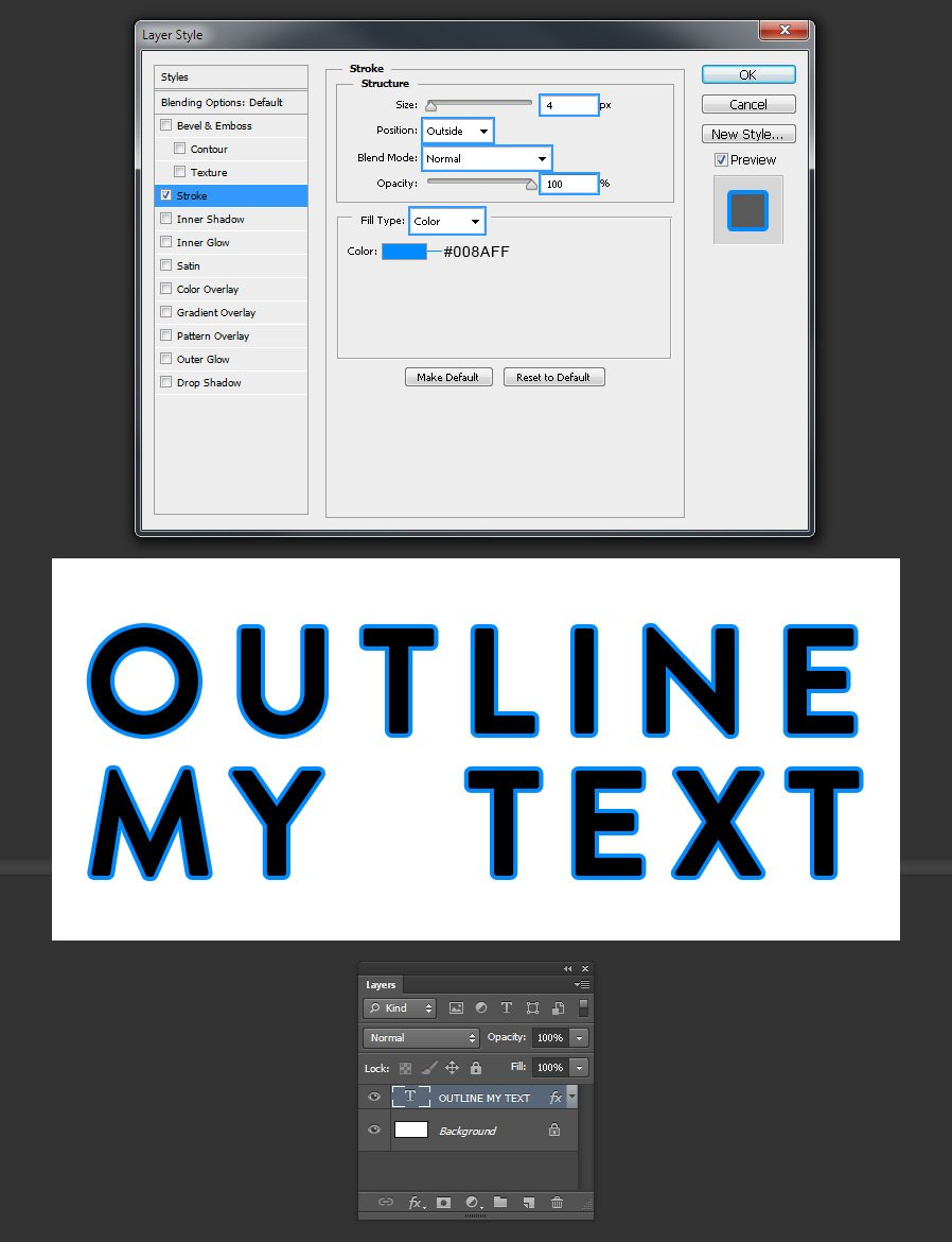 How To Easily Outline Text In Photoshop Medialoot
