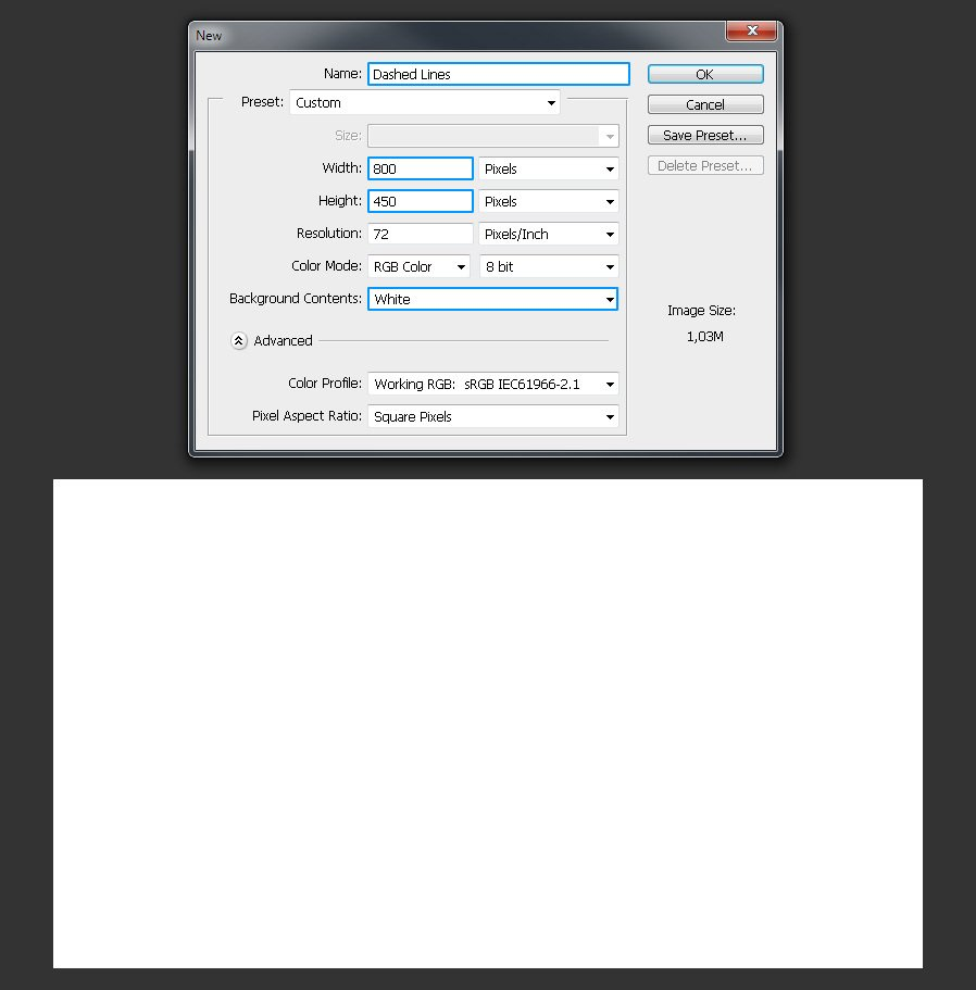 Open Photoshop And Make A New Document Of 800 X 450 Px Name It Dashed Lines