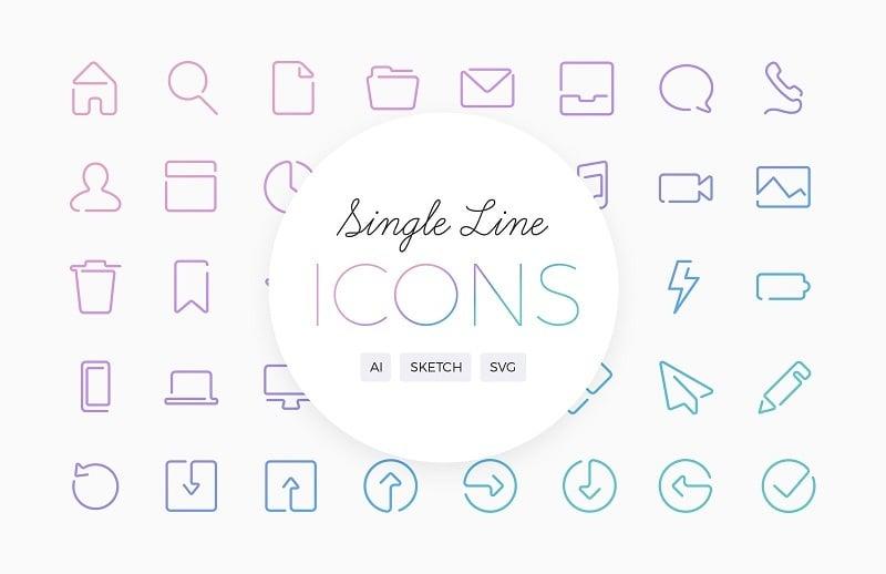 37 Gorgeous, Simple Line Icon Sets — Medialoot