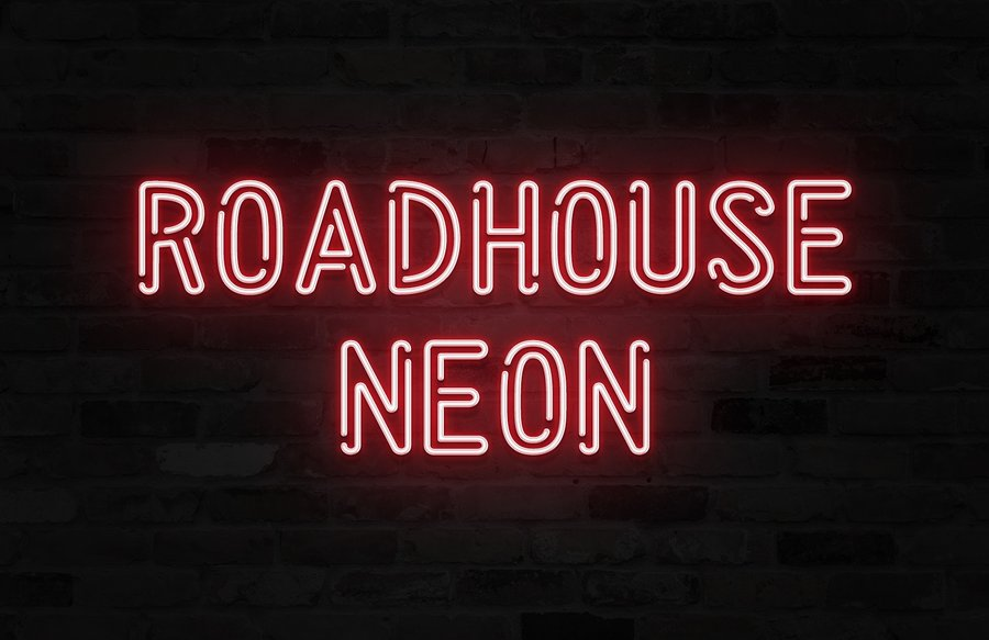 Roadhouse Neon Is A Super Clean And Modern Double Outline Font That Somehow Manages To Look Awesome In Both Western High Tech Uses