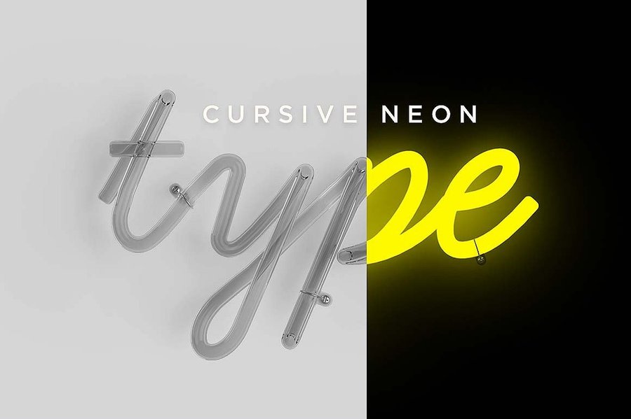 This Cursive Neon PSD Template Includes Beautifully Real 3D Rendered Letters Included As Individual Templates In A File Simply Download The
