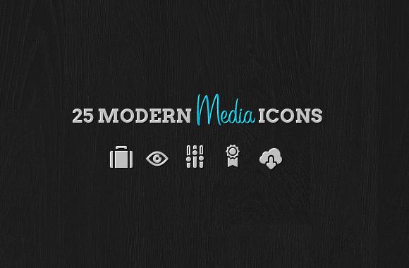 25 Modern Media Icon Pack