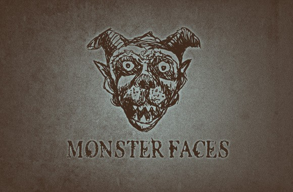 Hand Drawn Monster Faces Vector Set