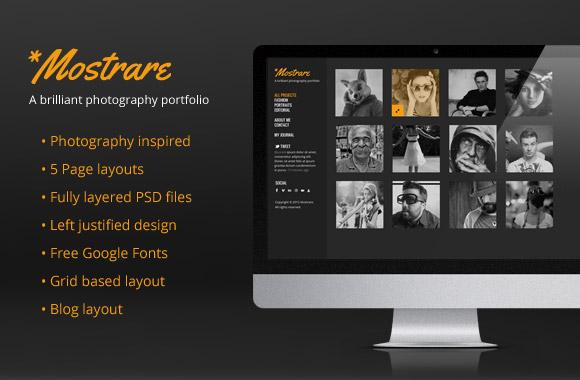 Mostrare - A Free Photography Portfolio PSD Template