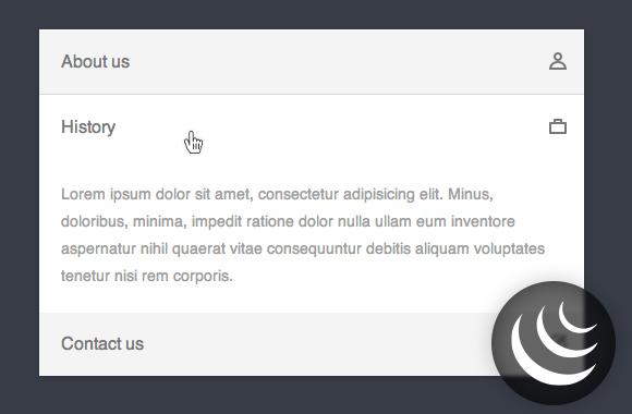 jQuery powered accordion menu