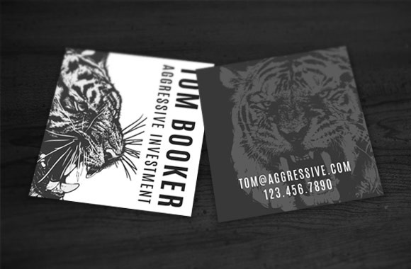 Aggressive Square Business Card Template