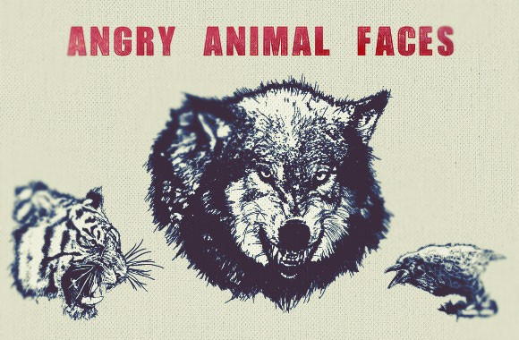 Angry Animal Face Vectors