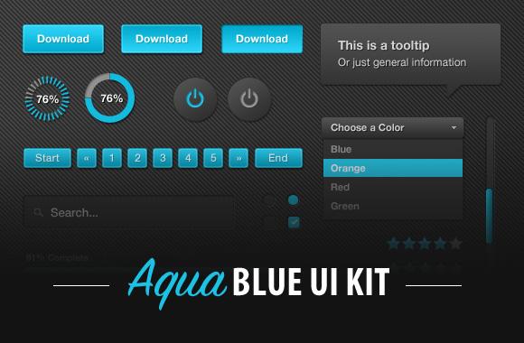 Aqua Blue UI Kit