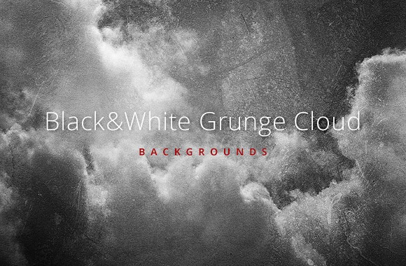 BW Grunge Clouds Backgrounds