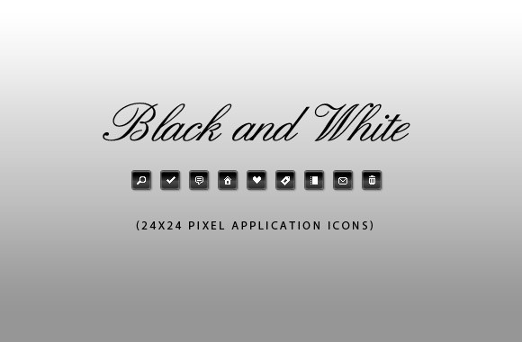 50 Black and White Application Icons
