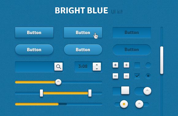 Bright Blue UI Kit - Retina Ready