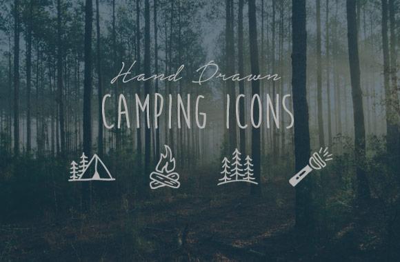 Hand Drawn Camping Icon Vectors