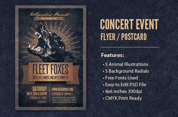 Concert Event Flyer / Postcard Template