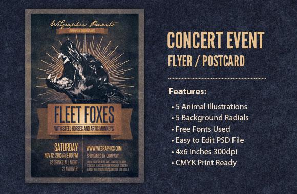 Concert Event Flyer / Postcard Template