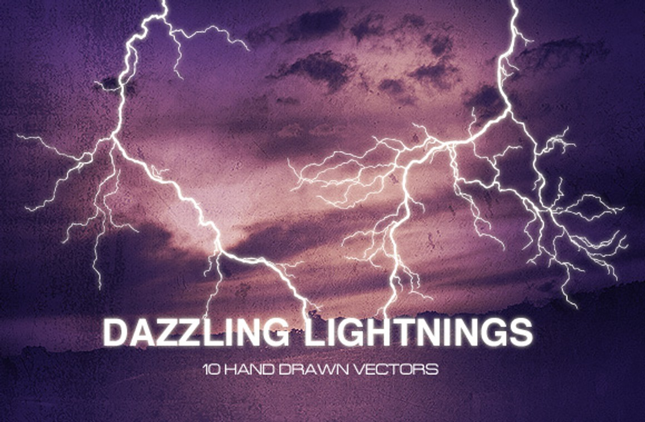 Dazzling Lightnings vector set