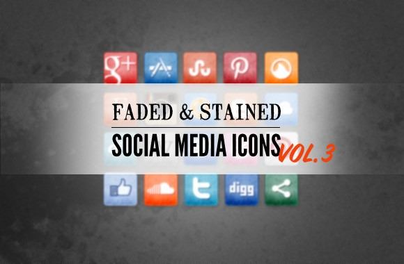 Free Stained and Faded Social Media Icons Vol 3