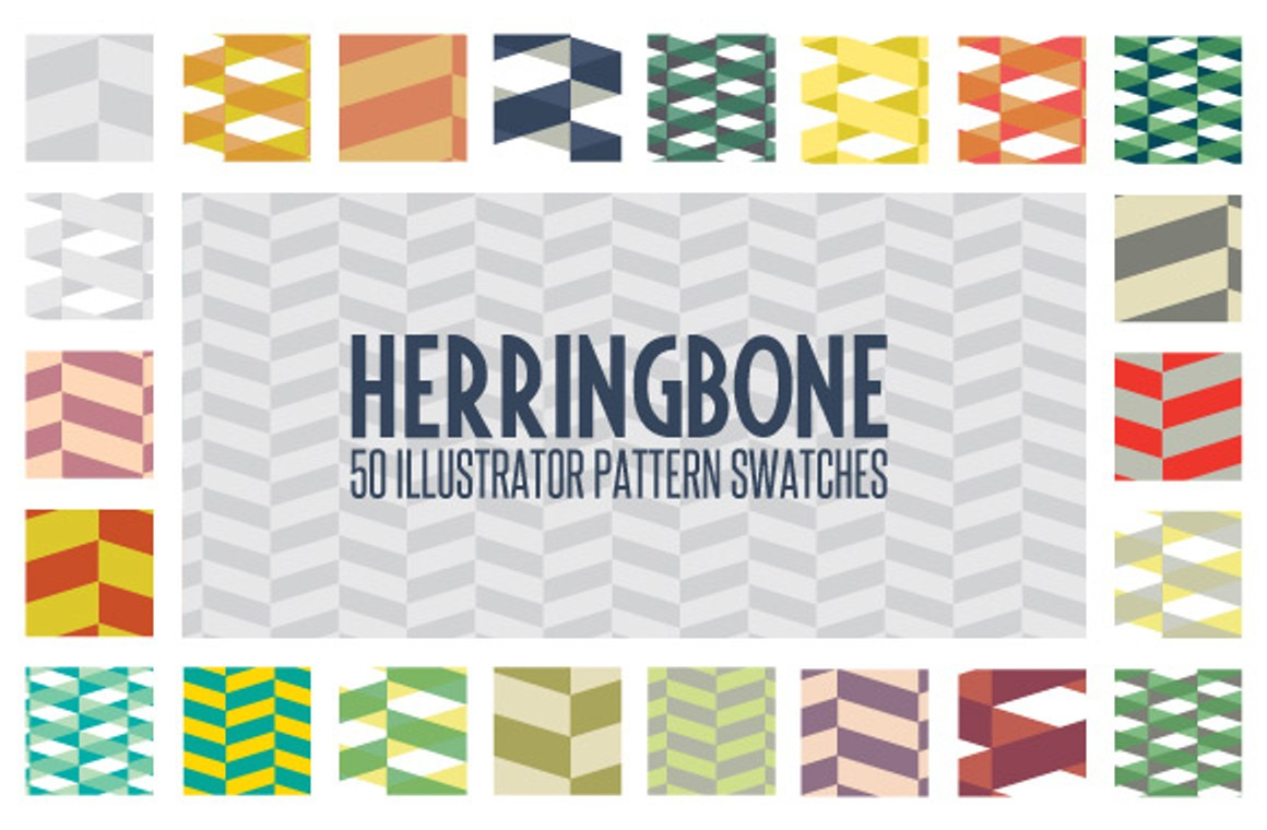 50 Free Herringbone Illustrator Pattern Swatches