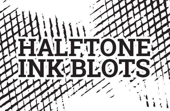 Vector Halftone Ink Blots