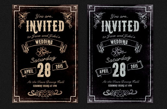 Illustrated Wedding Invitation - PSD Template