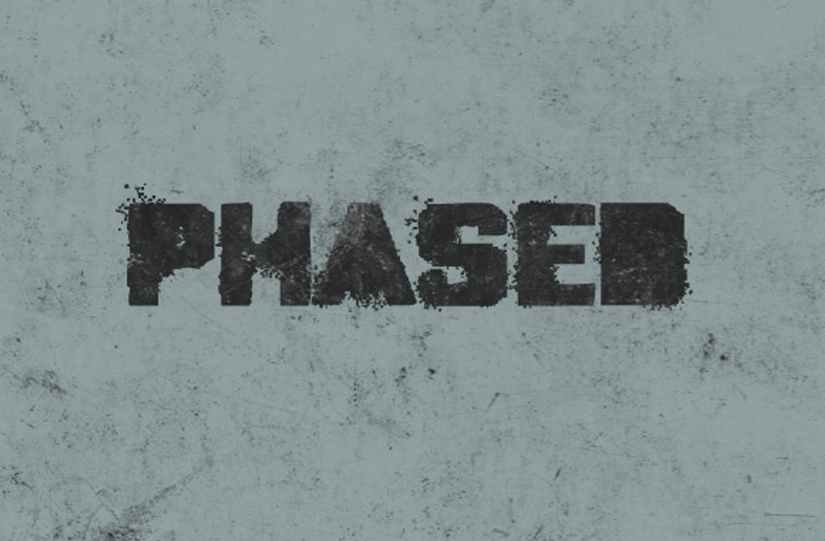 Phased - A Thick Grungy Font Face