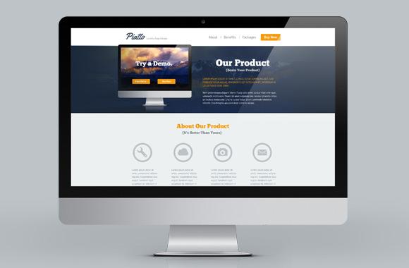 Piatto - A Free Flat Style Landing Page PSD