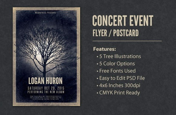 Concert Event Flyer / Postcard Template Vol2
