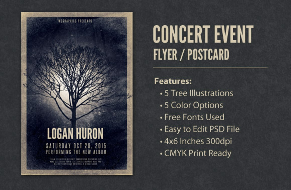 Concert Event Flyer / Postcard Template Vol2