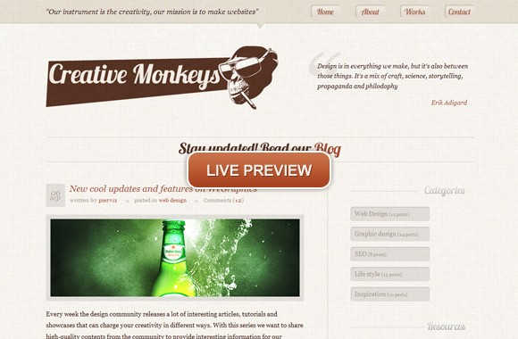 Creative Monkeys, an unique portfolio template