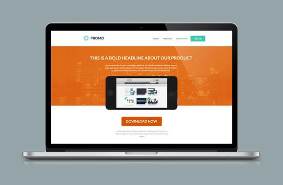 Promo - Flat Style Landing Page PSD