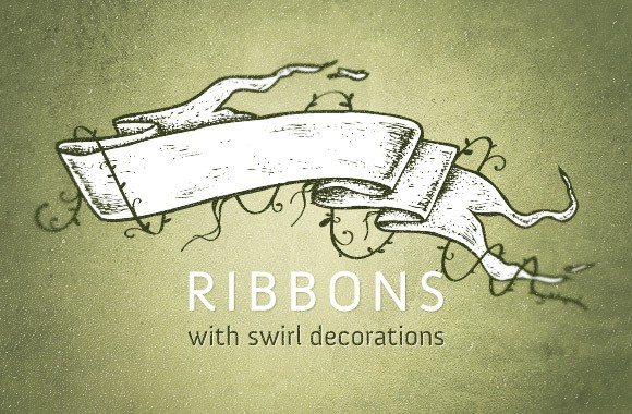 Ribbons with swirl decorations