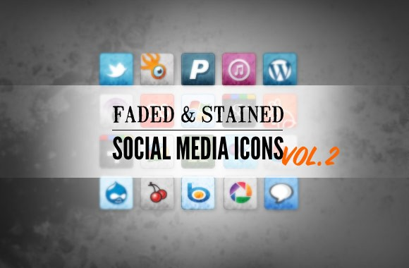 Free Stained and Faded Social Media Icons Vol 2