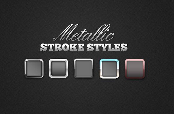 24 Metallic Stroke Photoshop Styles