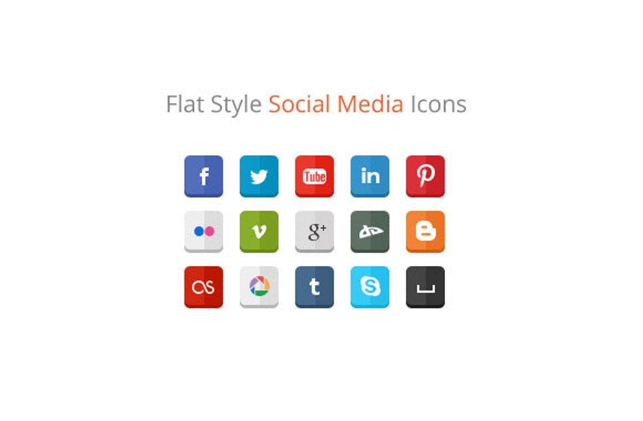 30 Free Flat Style Social Media Icons