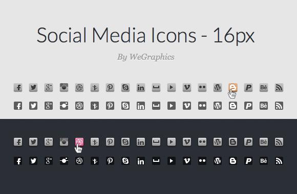 CSS Sprite Ready Social Media Icons - 16px
