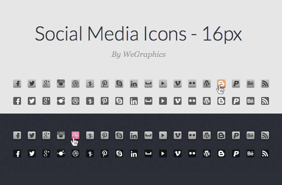 CSS Sprite Ready Social Media Icons - 16px - WeGraphics