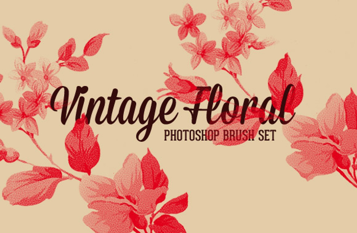 Vintage Floral Photoshop Brush Set - WeGraphics