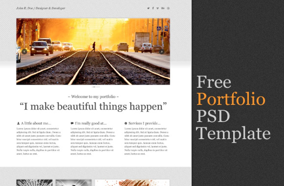 Clean Portfolio One Page PSD Template