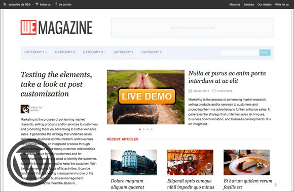 WeMagazine, a flexible Wordpress theme