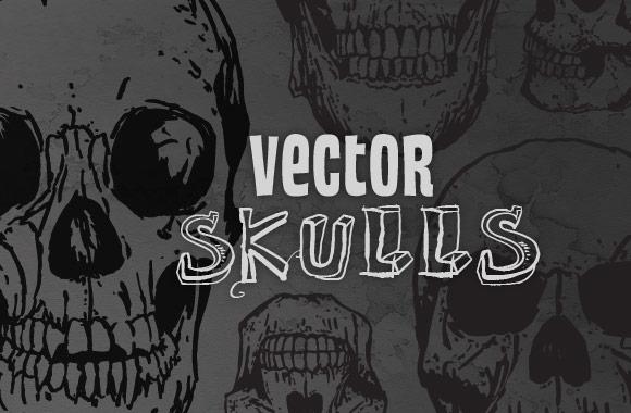 Hand Drawn Vector Skulls Vol. 2