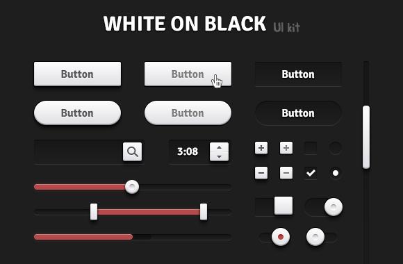 White on Black UI Kit - Retina ready