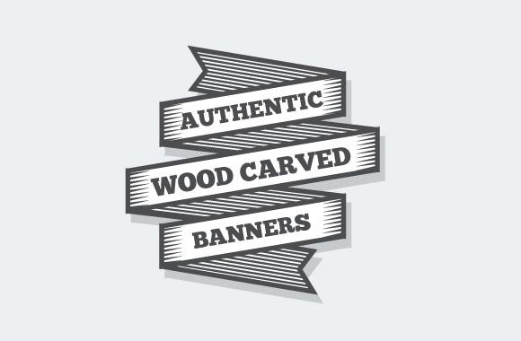 Wood Carved Banner Illustrations