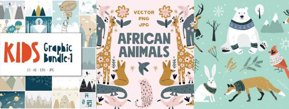 12 Whimsical Children's Book Illustration Sets