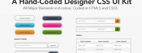 A Hand-Coded Designer CSS UI Kit
