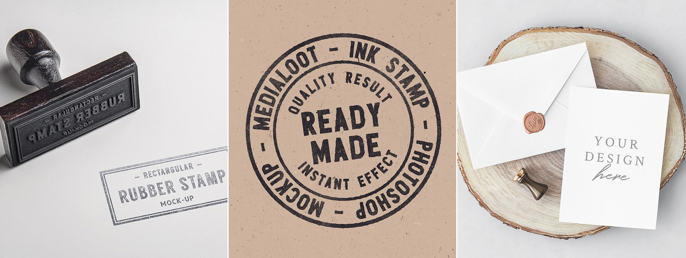 26 Stamp Mockups: Rubber, Ink, and Wax